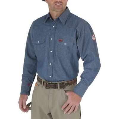 Wrangler fr12127 denim men 39 s flame resistant work shirt for Flame resistant work shirts