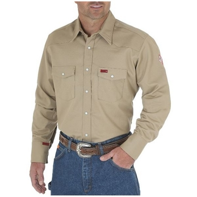 Wrangler fr12140 khaki men 39 s flame resistant work shirt for Flame resistant work shirts